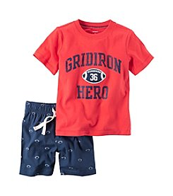 Carter's® Baby Boys 2-Piece Geo Tee And Football Shorts Set