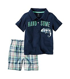 Carter's® Baby Boys 2-Piece Handsome Polo And Plaid Shorts Set