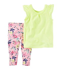 Carter's® Baby Girls' 2-Piece Flutter Sleeve Top And Floral Leggings Set