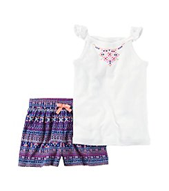 Carter's® Baby Girls' 2-Piece Printed Tank Top And Geo Printed Shorts Set