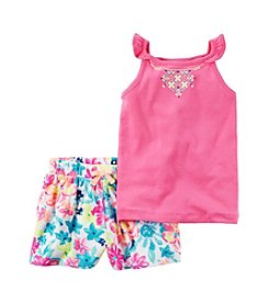 Carter's® Baby Girls' 2-Piece Printed Tank And Floral Printed Shorts Set