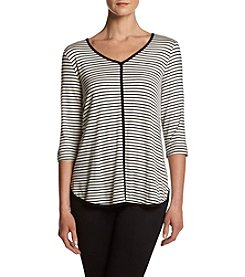 Bobeau® Striped V-neck Top