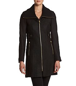 Via Spiga® Zip Front Boiled Wool Coat