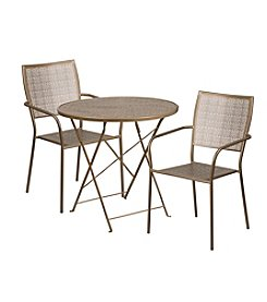 Flash Furniture Round Indoor-Outdoor Steel Folding Patio Set