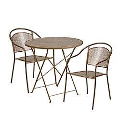 Flash Furniture Round Indoor-Outdoor Steel Folding Patio Set