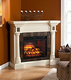 Southern Enterprises Carrington Faux Slate Convertible Infrared Fireplace