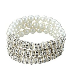 Studio Works® Three Row Simulated Pearl Round Bracelet