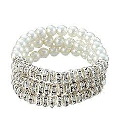 Studio Works® Three Row Simulated Pearl Round Bracelet