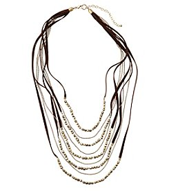 Ruff Hewn Seed Bead Suede And Chain Multi Row Necklace