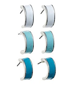 Studio Works® Silvertone Epoxy Hoop Earring Trio