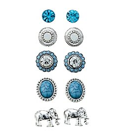 Studio Works® Silvertone And Aqua Five Pair Post Earrings