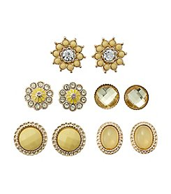 Studio Works® Goldtone And Yellow Five Piece Post Earring Set