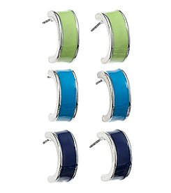 Studio Works® Silvertone And Epoxy Hoop Earring Trio
