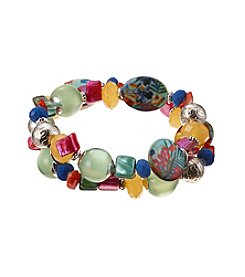 Studio Works® Two Row Bead Shell Stretch Bracelet