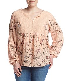 Ruff Hewn Plus Size Lace Yoke Splitneck Top