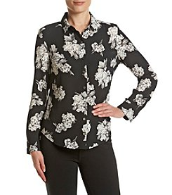 Ruff Hewn GREY Printed Button Front Blouse
