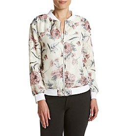 Ruff Hewn GREY Printed Lace Bomber Jacket