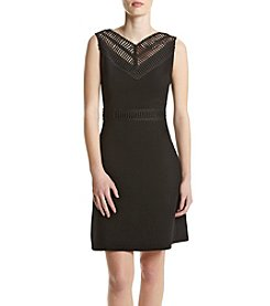 GUESS Lace V-Neck Fit And Flare Dress