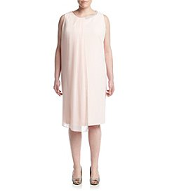 S.L. Fashions Plus Size Front Bead Envelope Dress