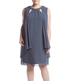 S.L. Fashions Plus Size Cut-Out Drape Dress