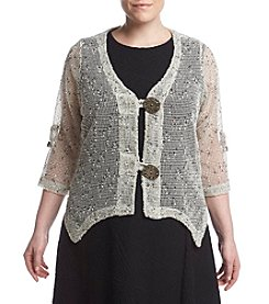 Nina Leonard® Plus Size Coconut Lace Shrug