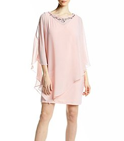 S.L. Fashions Bead Cape Dress