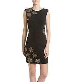 GUESS Embellished Floral Sheath Dress