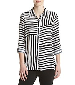Alfred Dunner® Roll Tab Spliced Stripe Woven Top
