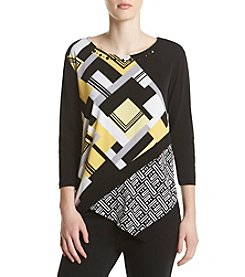 Alfred Dunner® Geometric Spliced Print Knit Top