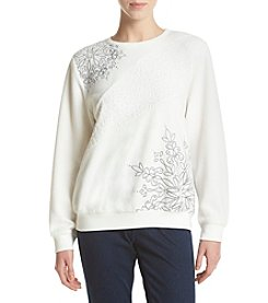 Alfred Dunner® Asymmetric Embroidered Knit Top