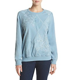 Alfred Dunner® Diamond Embroidered Knit Top