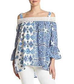 Oneworld® Plus Size Off The Shoulder Floral Top