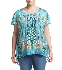 Oneworld® Plus Size Sublimation Printed Top