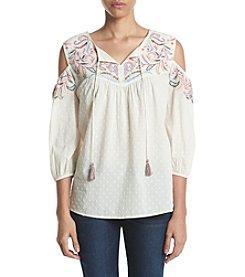 Ruff Hewn Embroidered Splitneck Cold Shoulder Top