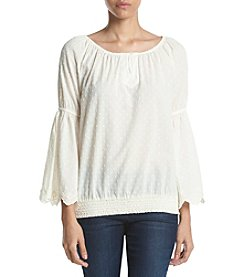 Ruff Hewn Embroidered Bellsleeve Blouse