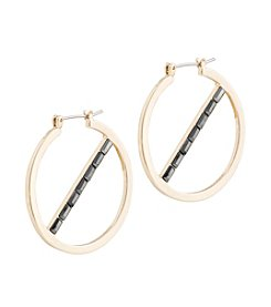Kensie® Hoop Earring With Stone Bar