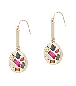 Kensie® Disc Drop Earrings With Simulated Crystal Accents
