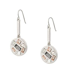 Kensie® Disc Drop Earrings With Simulated Crystal Stones