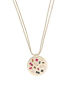 Kensie® Large Disc Pendant Long Necklace