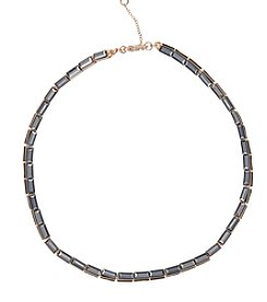 Kensie® Baguette Stone Collar Necklace