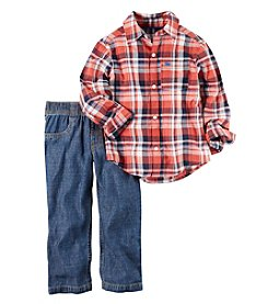 Carter's® Baby Boys 2-Piece Plaid Shirt And Jeans Set