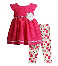 Sweet Heart Rose® Baby Girls' 2-Piece Lace Top And Leggings Set
