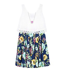 Amy Byer Girls' Floral Popover Dress