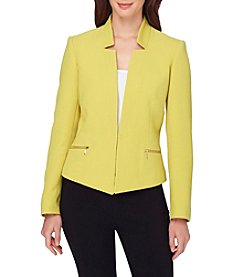 Tahari® Starneck Crinkle Side Zipper Kissing Jacket