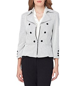 Tahari® Notch Collar Military Zip Front Peplum Jacket