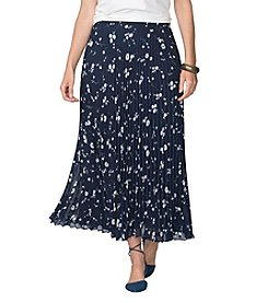 Chaps® Plus Size Pleated Floral Skirt
