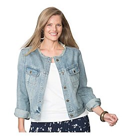 Chaps® Plus Size Frayed Denim Jacket