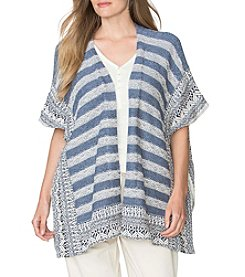 Chaps® Plus Size Striped Open-Front Poncho