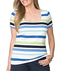 Chaps® Plus Size Striped Jersey Scoopneck Tee