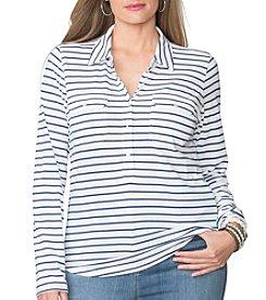 Chaps® Plus Size Striped Jersey Polo Shirt